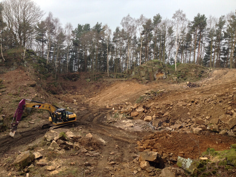 The 360 digger was in to grade the site ready for quarrying